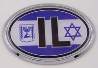Israel IL Israeli Car Chrome Emblem Bumper Sticker flag decal oval
