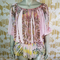 Shay California Women's Pink Floral 3/4 Sleeve Boho Tunic Blouse Made Size Small