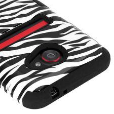 For HTC EVO 4G LTE IMPACT TUFF HYBRID Case Snap on Phone Cover Zebra Black
