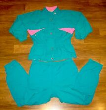 Vtg 80s 90s French Teal LARGE Neon Pink TRACK SUIT windbreaker Jacket Coat Pants