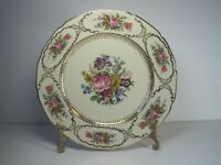 Vintage Continental Ivory Queen's Bouquet Germany Floral Dinner Plate