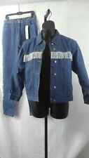 Perry Ellis America Nwt Sz M Jacket Sz 14 Blue Denim Western Pantsuit