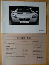 OPEL SPEEDSTER orig 2000 Swiss Mkt Brochure Depliant in French - Vauxhall VX220