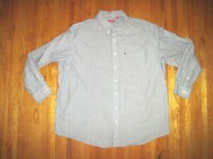 Izod Black/White Pin Stripe Long Sleeve Oxford Dress Shirt Size 3XLT New