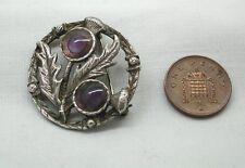 Vintage Scottish Silver Amethyst Thistle Brooch