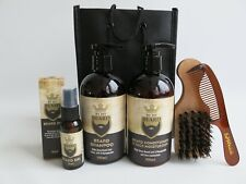 Beard & Skin Care Set - Shampoo Oil Comb Kit - Free Brush & Case - Vegan Halal