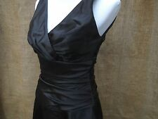DESSY COLLECTION Dark Black Satin Ruched Waist Cocktail Fall Formal Dress 8