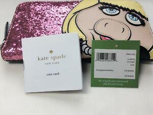 NWT Kate Spade Disney Miss Piggy Lacey Zip Around Wallet Pink Glitter PWRU5453