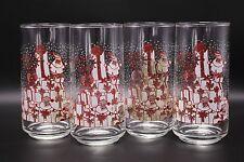 VTG Set Libbey Crisa Clearly Glassware Santa Claus Christmas Glass Tea Tumblers