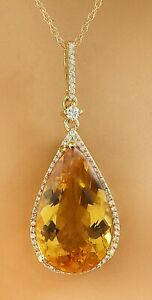 9.77 Carat Natural Citrine 14K Yellow Gold Diamond Necklace