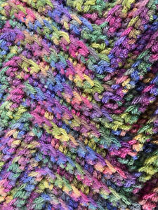 Afghan Throw Blanket 64in x 52in Crocheted Chevron Pattern Rich Jeweled Hue