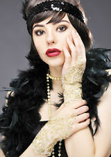 Womens Stunning 1920s Gold Lace Gloves