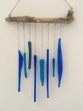 Vidrio fusionado Azul driftwoid Carillón De Viento Decoración Colgante