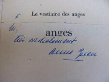 ENVOI AUTOGRAPHE / LE VESTIAIRE DES ANGES  Anne Green