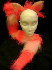 The Cheshire Cat Fancy Dress Ears And Tail Set Bright Pink & Light Pink Faux Fur