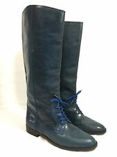 The Rider Equestrian Riding Boots Leather Lace Front Teal Blue Italy Womens 8.5M