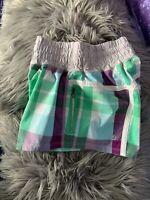 Lululemon 4 Tracker Shorts Foxy Plaid White Purple Green Elastic Waist