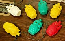 Vintage Blow Mold Owl String Lights Party Patio Lites RV Camper WORKING!