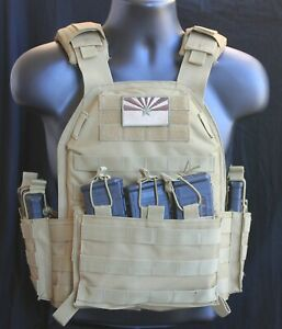 Tactical Vest -Tac Plate Carrier - Coyote with Mag Pouches - Military Adjustable