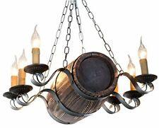Aged Wood Rustic Barrel Chandelier. Metal Wood Ceiling Hanging Candle Light