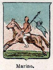 Stemma del Comune di MARINO. Cromolitografia. Castelli Romani. Roma. Lazio. 1901