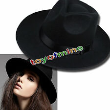 Vintage Women Lady Fedora Trilby Wool Belt Cap Warm Winter Wide Brim Fashion Hat