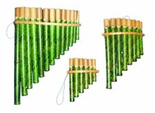 More details for my family house bamboo pan flute in green with pipes of different notes