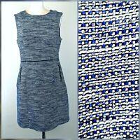 Oasis Blue Boucle Sleeveless Knee Length Office Work Career Shift Dress 12
