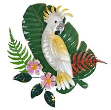 Cockatoo on Tropical Leaves Flowers Metal Hanging Wall Art Bird Garden BIG 45 cm