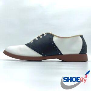 Black White Oxford Saddle Shoes Lace Up Coasters Loafers Dress Shoe 7