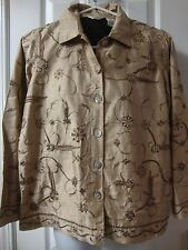 NWT Womens LAURA ASHLEY PETITE beaded mocha creme spring garden jacket, size PS