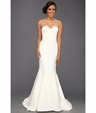 Nicole Miller Dakota Silk Faille Strapless Gown Wedding Dress Antique White 4