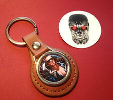 Terminator Leather  Keyring - T1 & T2 Judgement Day, Schwarzenegger & sticker