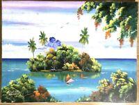Island Painting Caribbean Jamaica Haiti Landscape E Spence 12x16 Canvas Acrylic