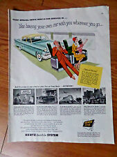 1954 Hertz Rent A Car Ad Ford at the Hertz Station in Newark New Jersey