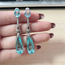 925 Silver Aquamarine Women Jewelry Fashion Dangle Anniversary Drop Earrings
