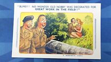 Bamforth Comic Postcard 1950s BRITISH ARMY Medal Decorated GREAT WORK IN FIELD