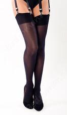 Black Stockings 50 Denier Opaque Nylon XL Larger Bigger Plain Band Nylons GGWS06