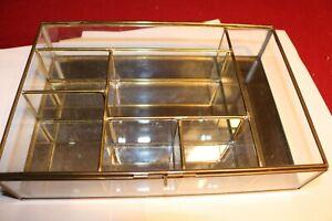 "Vintage Mirrored  Glass Brass Curio Cabinet Display Case Miniatures 10""6 1/2'' 2"