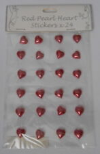 *BARGAIN* Red Pearl heart Embellishment Stickers for cards and crafts