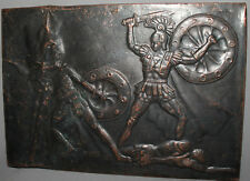 VINTAGE RUSSIAN COPPER WALL HANGING PLAQUE ROMAN WARRIORS FIGHT
