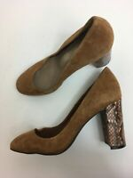 WOMENS AUTOGRAPH BROWN SUEDE SLIP ON SNAKE PRINT HIGH HEEL COURT SHOES UK 7