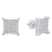 0.27 CT Sterling Silver Round Diamond Micro Pave Kite Shape Stud Earring