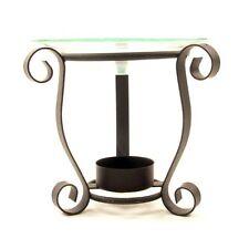 Brûleur à huile en métal et coupelle en verre  Base ronde