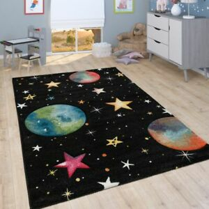 Kinder-Teppich, Spiel-Teppich Für Kinderzimmer Mit Planeten Sternen, In Schwarz