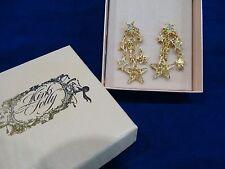 Kirks Folly Earrings Stars Gold Tone NEW