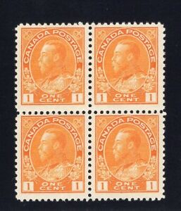 1911-25 Canada. SC#105. UNI#105. Mint, Never/Lightly Hinged, VF. Block of 4
