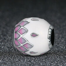 Spring Flower .925 Sterling Silver Charm Pink Enamel Petal European for Women