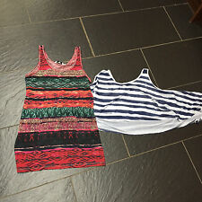 MISO BLUE WHITE STRIPED OVERSIZED TOP & NEW LOOK MULTICOLOUR TRIBAL VEST TOP 10
