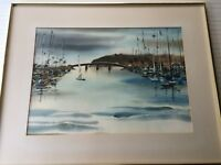 "Doris Adams Original Watercolor Seascape, Signed, Framed, 28"" x 20"" (Image)"